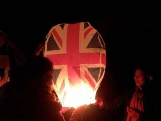 We lit lanterns to celebrate the first day of 2013 in England.