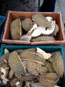 The discarded husks of durians sit outside a food stall in Bangkok, Thailand on Jan. 16, 2013.