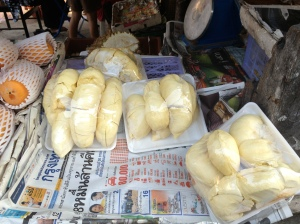 Durian fruit sits packaged and waiting for customers at a food stall in Bangkok, Thailand on Jan. 16, 2013.