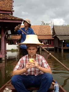 Bjorn floats along with two hats on his head in Ancient Siam. (Photo by Jammie Karlman)