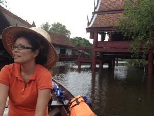 Floating through the floating market at Ancient Siam in Samutprakan, Thailand. (Photo by Bjorn Karlman)