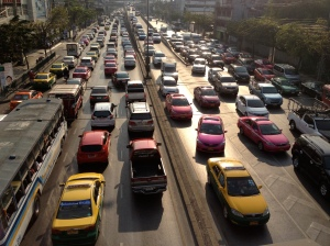Typical traffic in Bangkok, Thailand. (Photo by Bjorn Karlman)