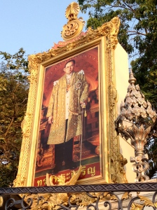 Pictures of the King of Thailand can be seen all over Bangkok, Thailand. (Photo by Bjorn Karlman)