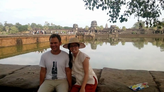 Bjorn and I in Cambodia (blog post coming! Really!). It's one of my earliest pictures of me pregnant (about 4 weeks) although I didn't know it at the time. I just thought I was chubby. :)